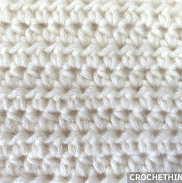 close-up of a half double crochet stitch swatch