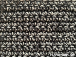 close-up of a single crochet stitch swatch