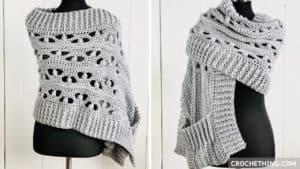 Blocked Puff Stitch pocket shawl - free crochet pattern on crochething.com