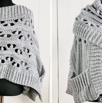 Blocked Puff Stitch pocket shawl - free crochet pattern on crochething.com