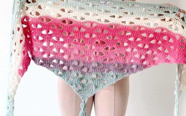 Blocked Puff Stitch Shawl - free crochet pattern on crochething.com.jpg