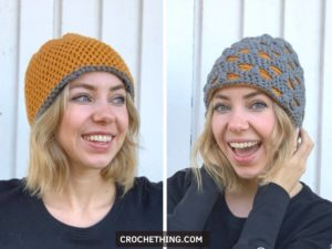 Two sided reversible beanie - free crochet pattern with lionbrand jeans