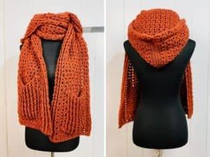 crochet hooded pocket shawl, a free crochet pattern on crochething.com